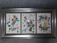 A framed and glazed triptych of Joan Miro coloured lithographs with certificate of authenticity.