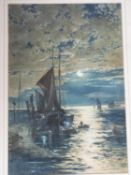 A 19th century framed and glazed watercolour of sailing boats by moonlight on the water.