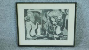 A framed and glazed signed screen print by African artist Louis Mwaniki, titled 'The Merging of