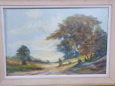 A framed oil on canvas landscape by Dutch artist H.V. Wehler. Signed by artist. 109.5x79cm.