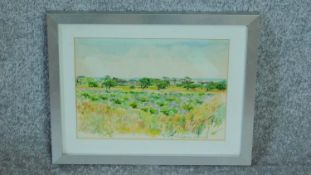 A framed and glazed watercolour of a Greek landscape by a British painter Anne Usborne. Signed and
