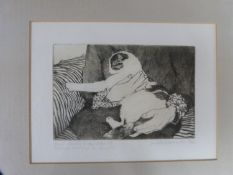A framed and glazed signed engraving by British artist Judith Downie (1934-2016). Titled 'Small
