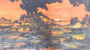 Herbert Jochems (1912-1975) A very large gilt framed oil on canvas, volcanic eruption, signed bottom