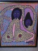 A framed oil on canvas by Haitian artist Dieuseul Paul. 55x64.5