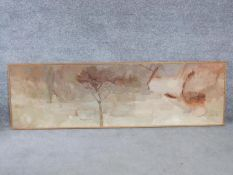 A framed oil on canvas by British artist Mona Killpack (16 March 1918 ? 6 May 2009). Titled 'Flood'.
