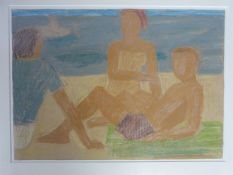 A framed and glazed oil pastel on paper by American artist James Farrelly. Titled 'Three Figures