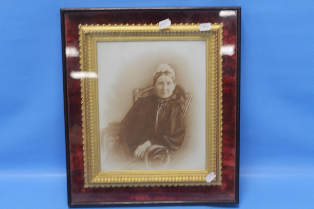 Lot 11 - A FRAMED AND GLAZED PORTRAIT OF AN ELDERLY LADY SAT IN A ROCKING CHAIR