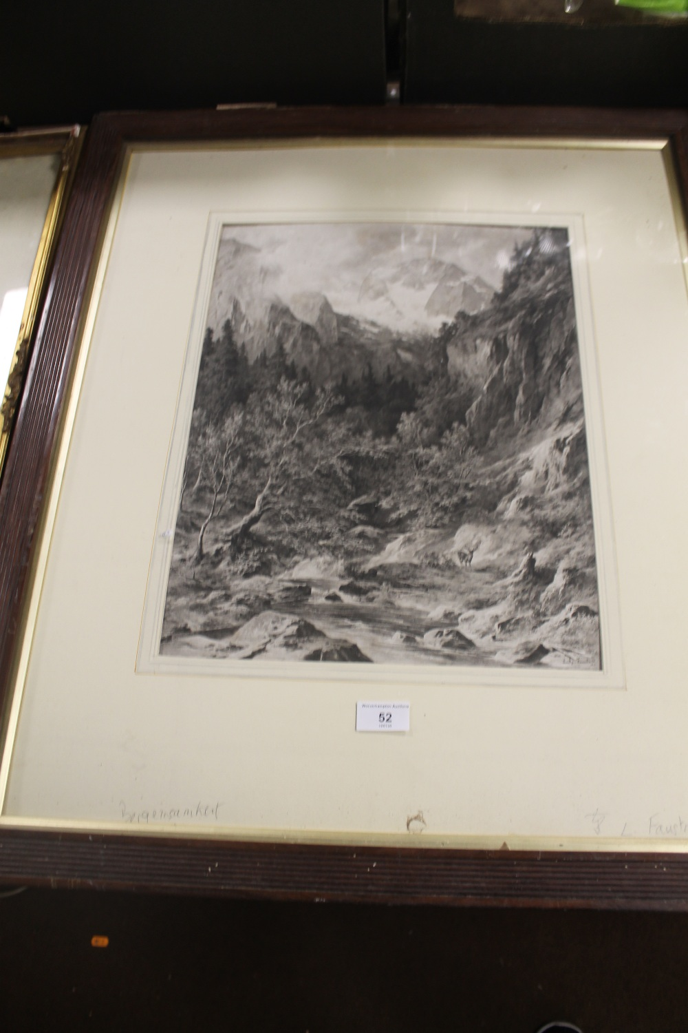 Lot 52 - A FRAMED PRINT DEPICTING A MOUNTAINSIDE SCENE WITH DEER IN FOREGROUND SIGNED L. FAUSTNER