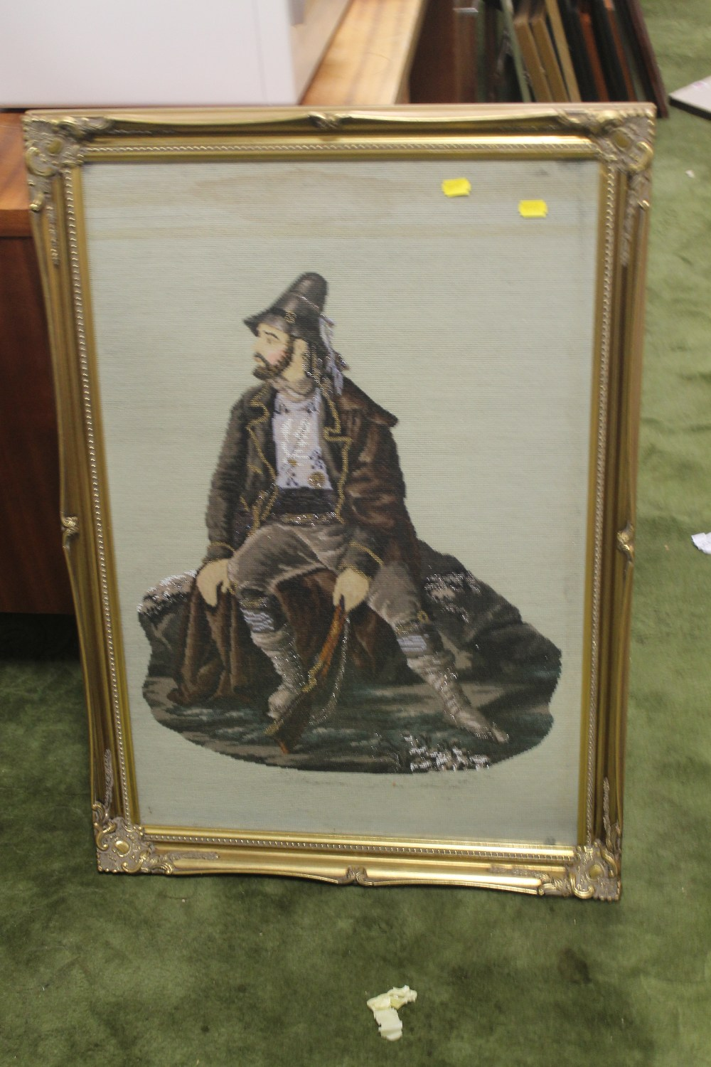 Lot 37 - A FRAMED BEAD PICTURE OF A GENTLEMAN