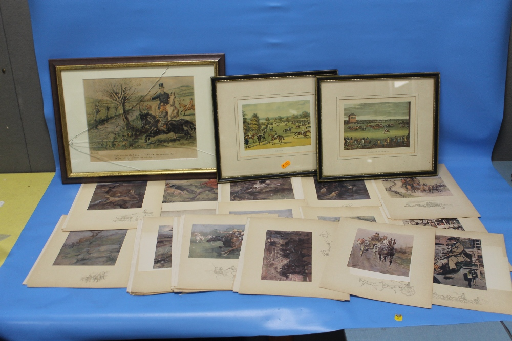 Lot 8 - A JOHN LEECH PRINT TOGETHER WITH TWO EQUINE PRINTS AND A QUANTITY OF SPORTING PRINTS