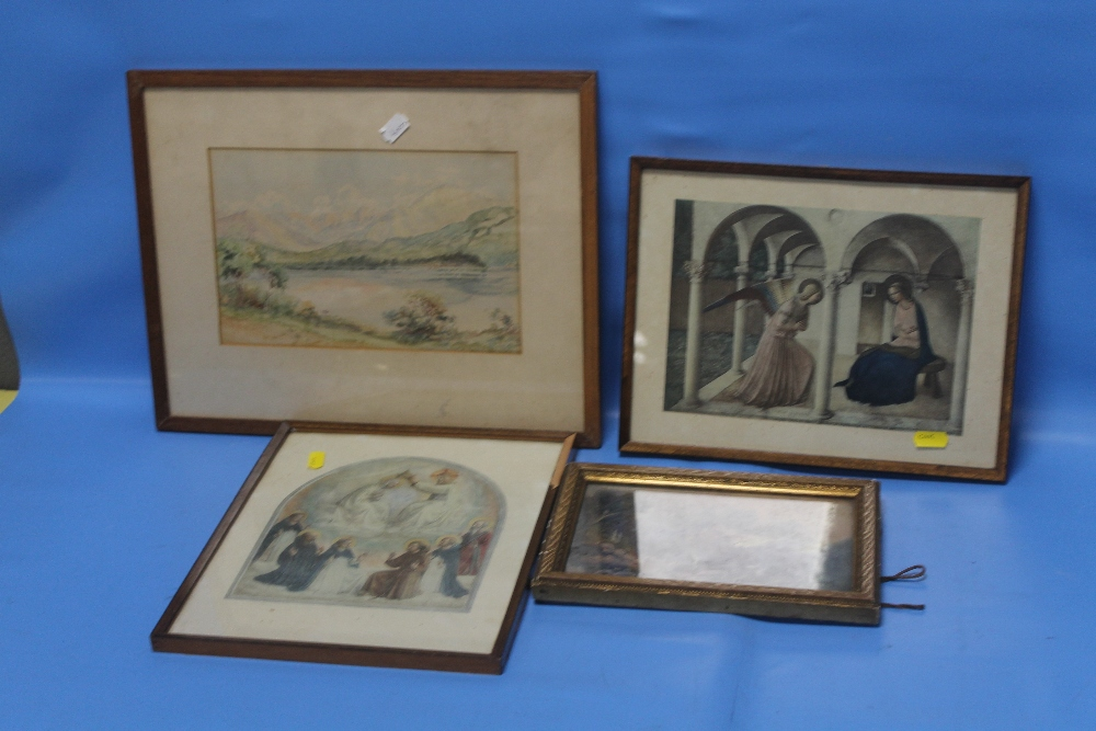 Lot 9 - A SMALL ANTIQUE OIL PAINTING ON BOARD TOGETHER WITH A WATERCOLOUR AND TWO ANTIQUE PRINTS (4)