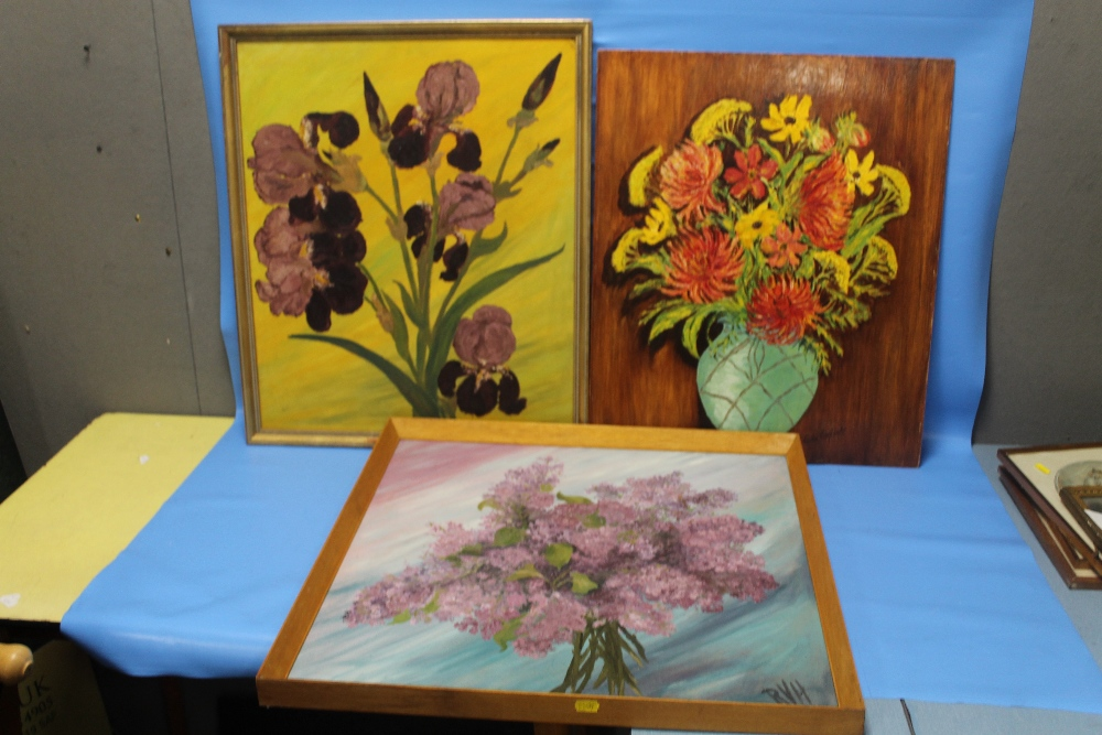 Lot 5 - THREE FLORAL PAINTINGS