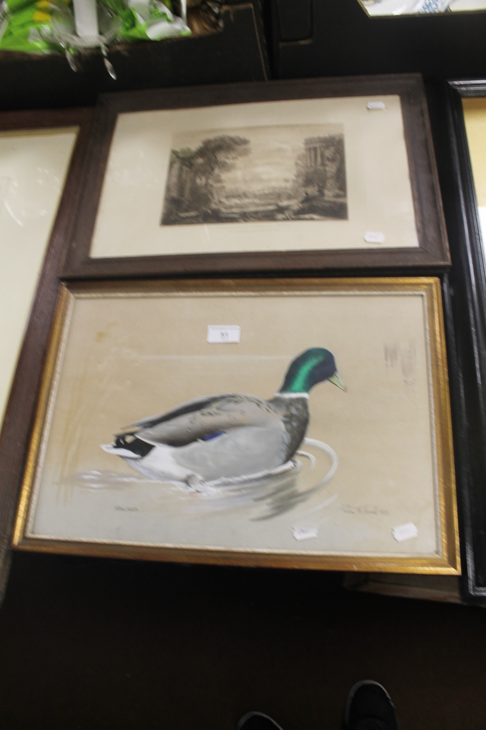 Lot 51 - A FRAMED ENGRAVING TITLED 'BEAUTIES OF CLAUDE LORRAINE' PLATE 18 TOGETHER WITH A PENCIL SIGNED