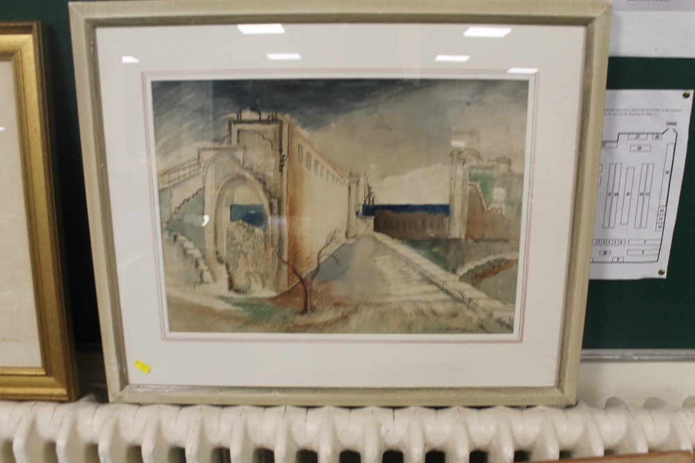 "Lot 25 - A FRAMED WATERCOLOUR ""SURREAL HARBOUR"" SIGNED ADRIAN HILL"