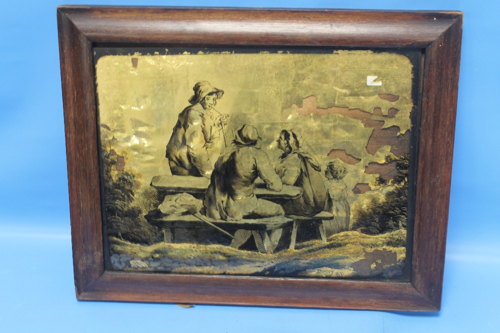 Lot 14 - A FRAMED ANTIQUE METALLIC PICTURE, I BRAGG 1859 A/F