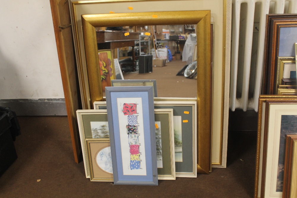 Lot 18 - A QUANTITY OF ASSORTED PICTURES, PRINTS AND MIRRORS