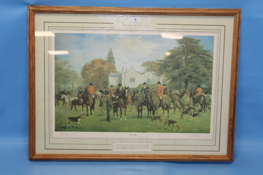 Lot 4 - A FRAMED AND GLAZED PRINT TITLED 'THE MEET' SIGNED R. GIBBONS