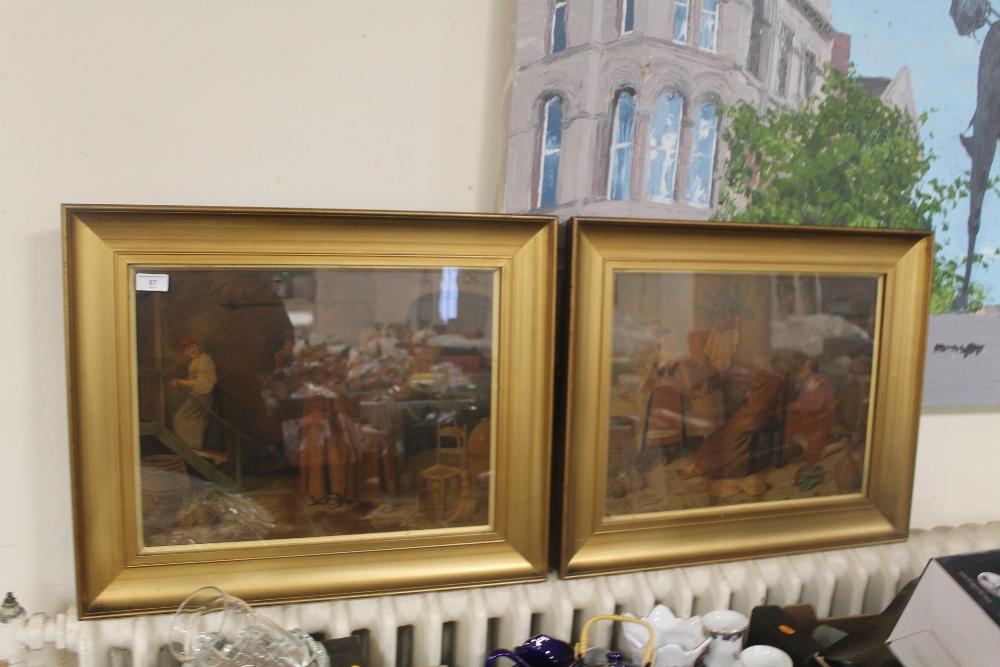 Lot 57 - V. VALENTINI - A PAIR OF FRAMED AND GLAZED COLOURED PRINTS depicting monks 54.5 x 66 cm including