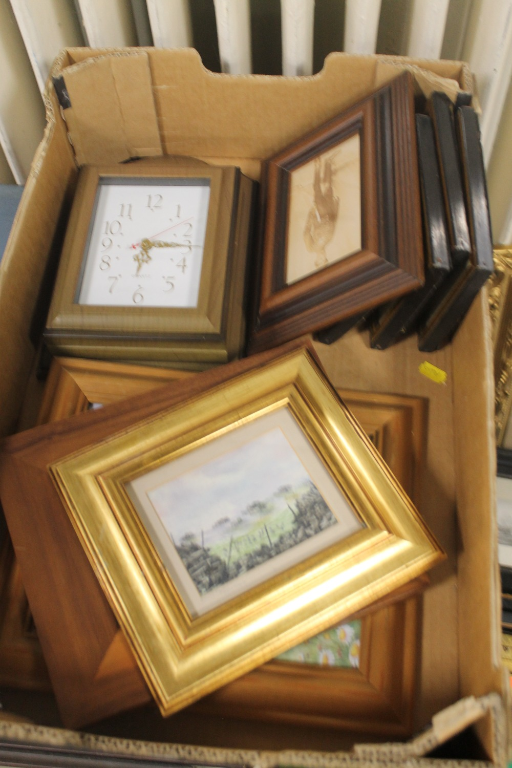 Lot 29 - A BOX OF ASSORTED FRAMED PICTURES AND PRINTS