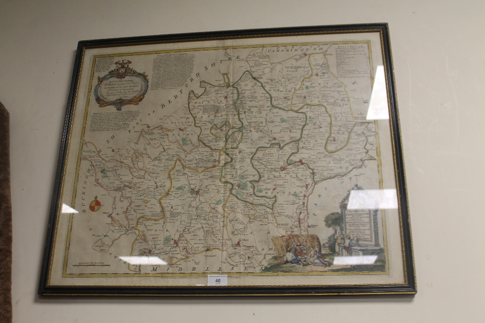 Lot 46 - THOMAS KITCHIN 'A NEW IMPROVED MAP OF HARTFORDSHIRE' (SIC), map of Hertfordshire published by Bowles
