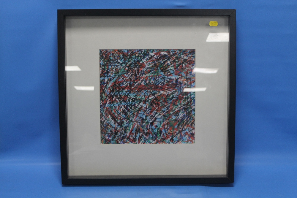 Lot 2 - A FRAMED AND GLAZED ABSTRACT DRAWING