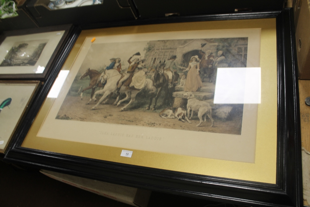 Lot 50 - A FRAMED ENGRAVING TITLED 'LASSIE HAS HER LADDIE'