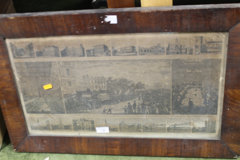 Lot 39 - A FRAMED AND GLAZED ENGRAVING DEPICTING NOTABLE LONDON BUILDINGS