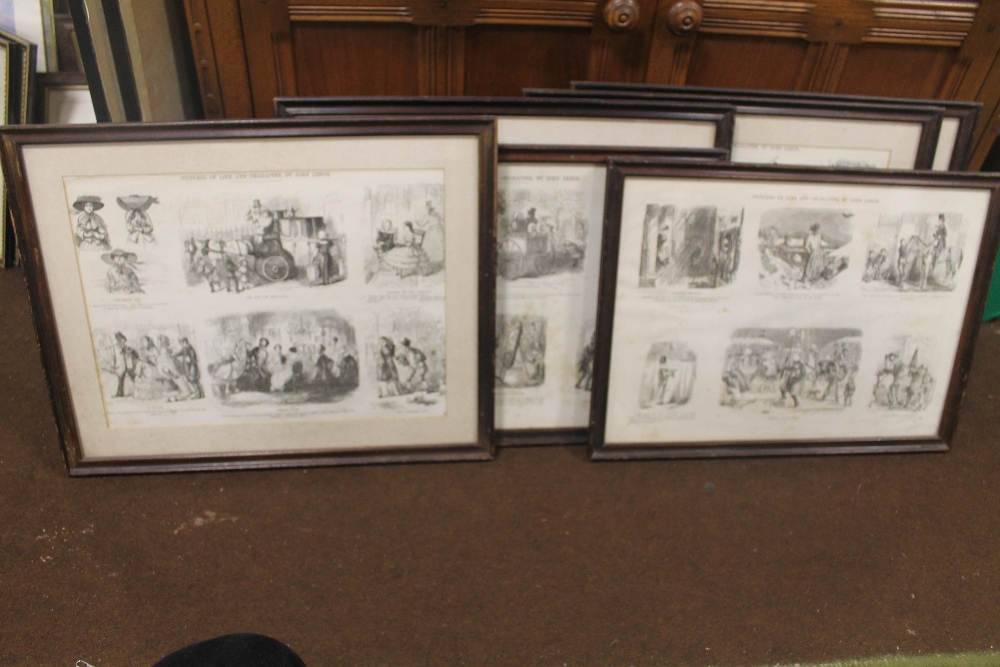 Lot 27 - JOHN LEECH - SIX FRAMED 'PICTURES OF LIFE AND CHARACTER' 38.5 x 48.5 cm including frames together