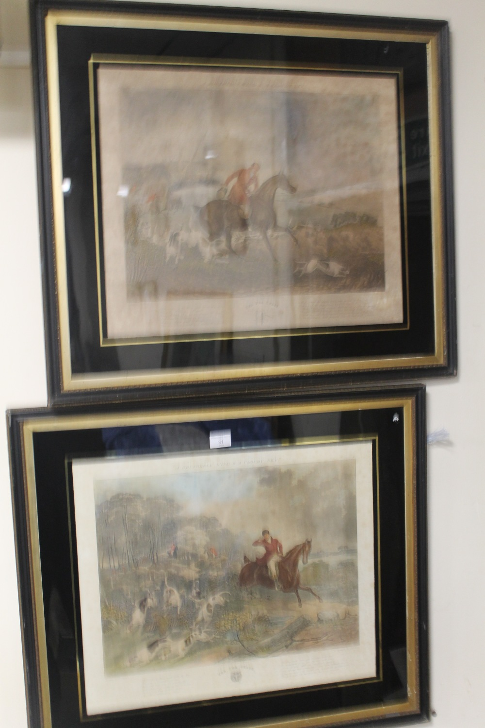 """Lot 31 - A PAIR OF ACKERMANN HUNTING ENGRAVINGS, hand coloured, """"The Fox Chase"""" plates 1 & 2 in original"""