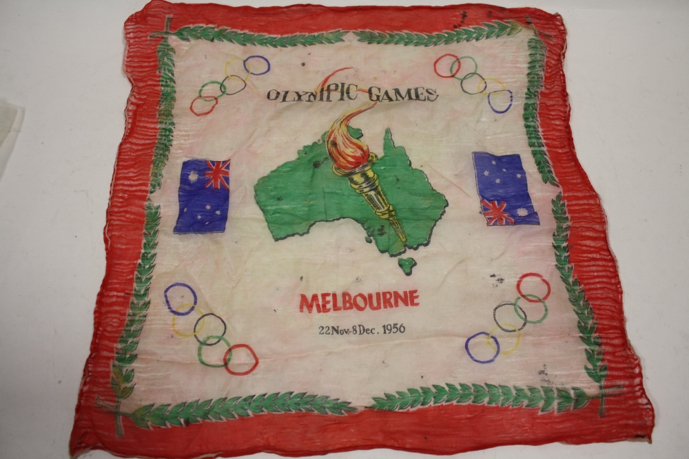Lot 405 - A 1956 MELBOURNE OLYMPIC GAMES SILK HANKERCHEIF