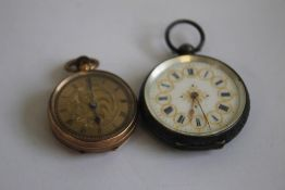 A 9ct LADIES' FOB WATCH, WITH GILT FOLIATE DIAL, along with a continental white metal (marked 925)