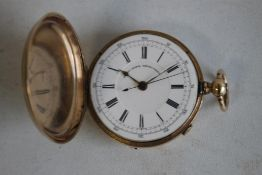 "A GENTLEMAN'S FULL HUNTER POCKET WATCH (A/F), MARKED 14K, white lever dial signed ""Patent Lever"