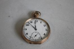 TOP WIND POCKET WATCH (Unsigned) white enamel dial, with large Roman Numeral markings.