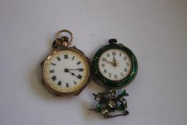 A 9ct GOLD LADIES FOB WATCH WITH ENAMEL DECORATION TO THE BACK (A/F) along with a white metal
