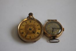 A 19TH CENTURY LADIES' FOB WATCH (marked 9ct) and a small 9ct ladies' wrist watch (2).