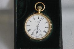 "AN 18ct GOLD OPEN FACE TOP WIND POCKET WATCH, the white enamel dial (cracked) signed ""Dent"
