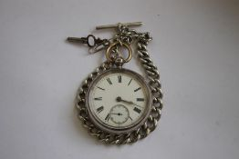 A SILVER OPEN FACE POCKET WATCH, (Unsigned) on a white metal Albert chain