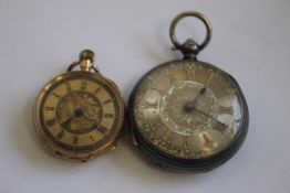 A LATE 19TH CENTURY CONTINENTAL LADIES' FOB WATCH MARKED 14ct, gilt engraved dial with black Roman