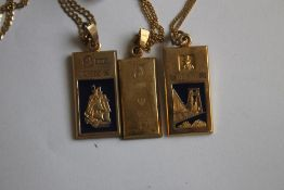 THREE 9ct GOLD 1/4 OZ INGOTS ON CHAINS. consisting of commemoratives for Trafalgar / Lord Nelson and