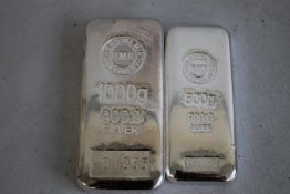 ROYAL MINT REFINERY, 999.9 Silver Ingots, 500g and 1000g (2)