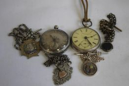 A SILVER OPEN FACE KEY WIND POCKET WATCH, SIGNED THOMAS POWELL BATES, LIVERPOOL, along with