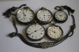 A SMALL COLLECTION OF CONTINENTAL WHITE METAL LADIES' FOB WATCHES and chain parts