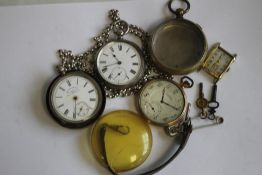"A SILVER OPEN FACE POCKET WATCH ON A MODERN WHITE METAL CHAIN, along with a gold plated ""Cymrex"""