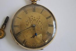A 19th CENTURY GENTLEMAN'S YELLOW METAL OPEN FACE, KEY WIND POCKET WATCH, gilt dial with black Roman
