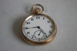 "A 9ct GOLD GENTLEMAN'S POCKET WATCH, movement signed ""Trenton Record dreadnought watch factories"""