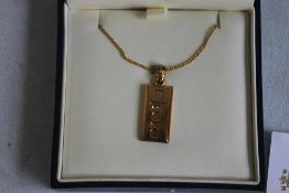 ROYAL MINT 2003 1/4 oz 9ct GOLD INGOT ON CHAIN, in case of issue with COA.
