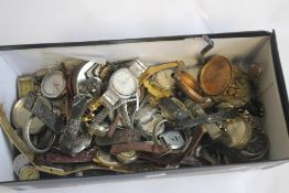A BOX OF VINTAGE WRIST WATCHES: A/F and parts