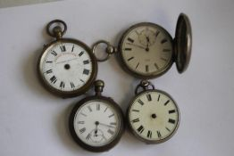 FOUR POCKET WATCHES (A/F) TO INCLUDE, a silver Hunter (4)