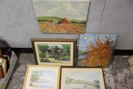 FIVE ASSORTED WATERCOLOURS AND OIL PAINTINGS TO INCLUDE AN OIL SIGNED SANDERSON
