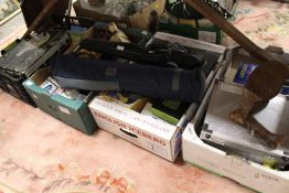 FOUR TRAYS OF ASSORTED ELECTRICALS, HOUSEHOLD SUNDRIES ETC.